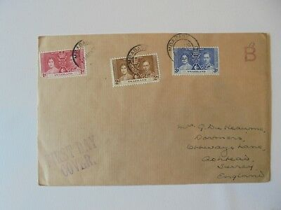Swaziland, King George VI,1937 Coronation  first day cover.