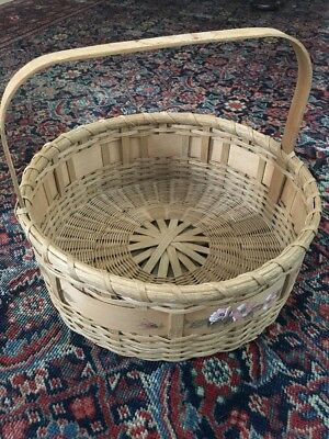 Antique Primitive Old Splint Ash Basket Round Hand Painted Signed And Dated 1943