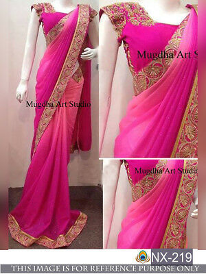 New Designer Saree Party Wear Ethnic Royal Wedding Fancy Pink Saree With Blouse