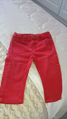 Baby Girls Red Urban Denim  Jeans Mother Care 9-12 Months With Pockets.