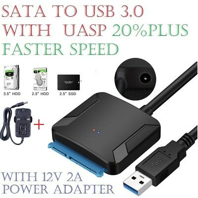 "USB to Sata Adapter USB 3.0 to 2.5"" 3.5"" Sata HDD SSD Hard Drive Power Adapters"
