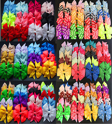 """40pcs 3"""" Kids Baby Girls 20 With 20 Without Pattern Ribbon Hair Bows Clips MG150"""