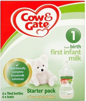 Cow & Gate 1 First Infant Milk from Newborn Starter Pack 6 x 70ml