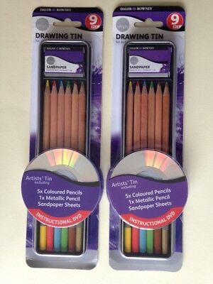 Daler Rowney Drawing Set x 2 Tins - Each Tin 9 Piece