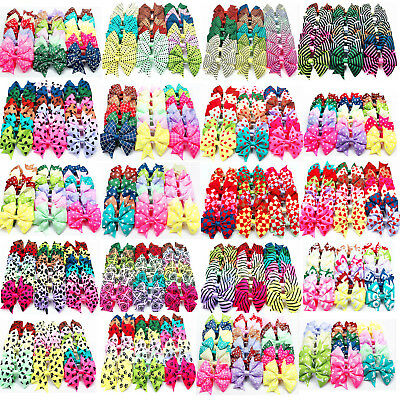 "40pcs 4"" Kids Baby Girls 10 Pattern Alligator Clip Ribbon Hair Bows Clips MD50"