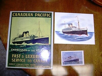 CPR Canadian Pacific RMS Empress of Ireland - Postcard, Artwork, and Poster Lot