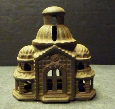 Cast Iron Metal Dome Bank Building - Mosque Style- Rusty Iron Coloration