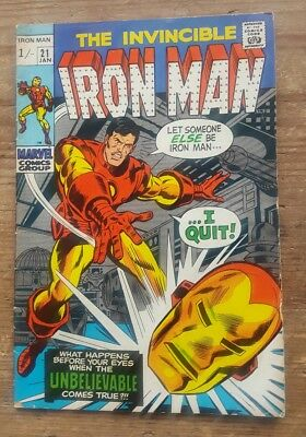 Marvel The Invincible Iron Man #21 Bronze Age January 1970 Deadstock Unread
