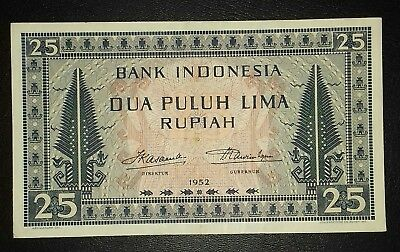 1952 Indonesia 25 Rupiah Culture series Circulated aXF/XF.