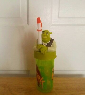 "Zak! Dream Works Shrek Ogre tumbler/cup, lid, straw. green. ""Ogres Have Layers"""