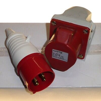 16A 4 Pin Plug + Socket IP44 3 Phase 380 - 415V 3P+E 16 Amp Industrial IEC Red