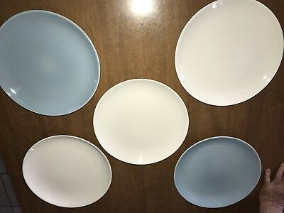 5 Russel Wright Iroquois 10 Inch Plates Casual Blue And White