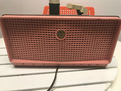 Vintage RCA Victor 7-EY-1JF PINK 45 RPM Record Player Powers On Parts & Repair