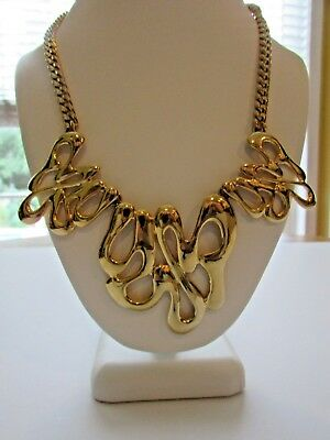 Vintage Huge Gold Statement Necklace Heavy Beautiful Rare