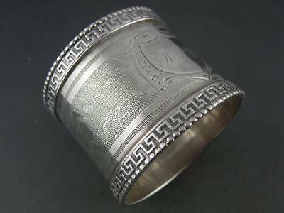 Early Coin Silver NAPKIN RING w/ greek key borders & engine turned decorations