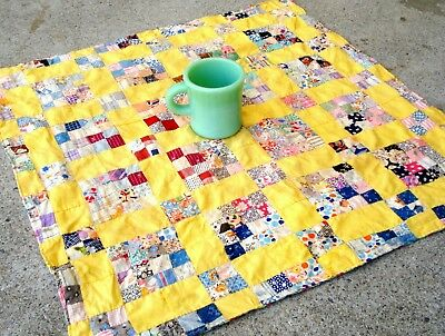 Vintage 1910's ~ 1930's Four patch Sixteen patch Doll Quilt hand stitched