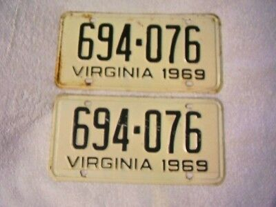 1969 Virginia License plates, matched pair, 694-076.
