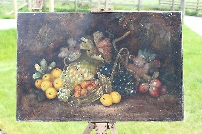 Fine antique original Large English still life of Fruit Vines and Baskets