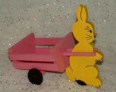Wooden Yellow Easter Bunny Pulling Pink Cart Wagon Wheels Turn Vintage Look
