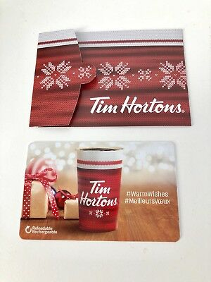 TIM HORTONS Gift Card ZERO $ Balance HOLIDAY WARM WISHES 2017 w/Holder, No Value