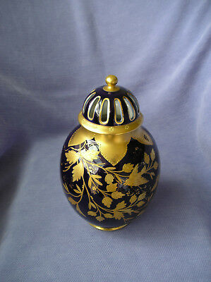 Limoges Cobalt and Gilded,  Lidded Pot Pourri Vase M.R Redon
