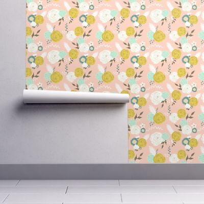 Wallpaper Roll Floral Flowers Pink Blooms Blossoms Roses Leaves 24in x 27ft