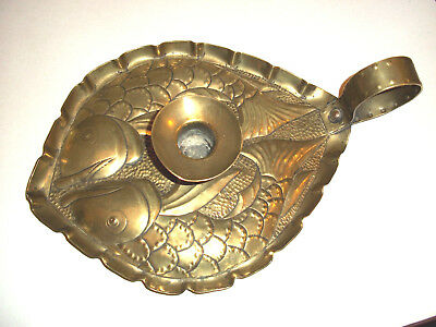 Fine Art & Crafts Double Fish Design Chamber Stick, Candle Stick Newlyn Style
