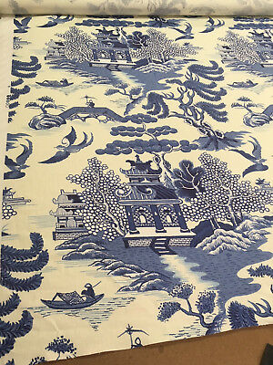 NEW Lee Jofa Willow Pattern - Blue On 3+ yards - 100% Linen with Knit Backing