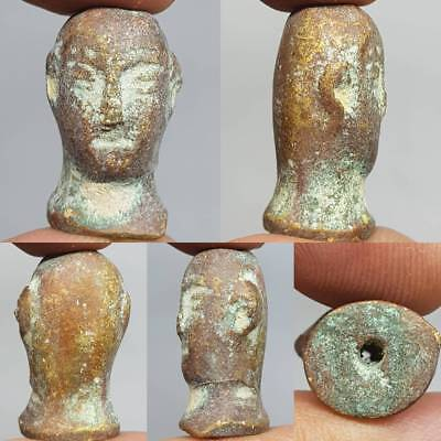 Bactrian Ancient Bronze carved Face King face head BEAD    # 3B