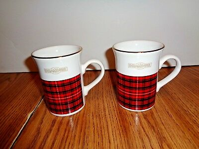 *Set of 2* DRAMBUIE Coffee Mug Cup - Black & Red Plaid 4'' TALL