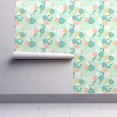 Wallpaper Roll Floral Flowers Roses Blooms Leaves Mint Blue 24in x 27ft
