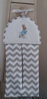 Peter Rabbit Nappy Stacker In Grey Chevron