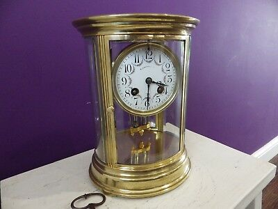 French Oval Crystal Regulator Mantle Clock Fully Restored With Amazing History