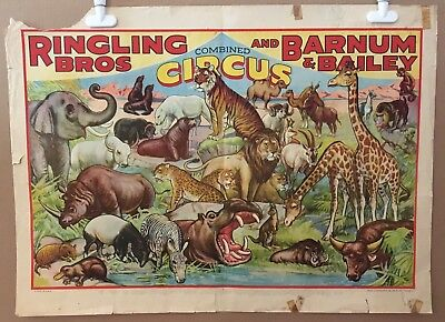 RINGLING BROS RBBB CIRCUS POSTER  - MENAGERIE -  1930's ORIGINAL ERIE LITHO
