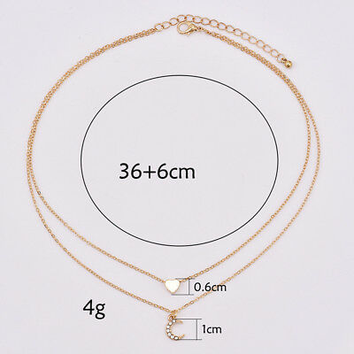 Women Chocker Gold Double Layer Chain Love Heart  Moon Pendant Necklace CB