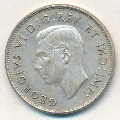 1942 Canada Silver 50 Cent Piece-Beautiful Gently Circulated-Free Shipping!