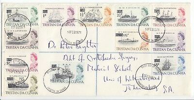 Tristan Da Cunha 1971 First Da Cover Registered Decimal Overprints Complete Set