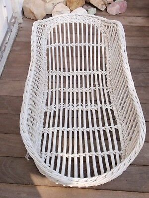 Vintage Wicker  Carrier  White Basket/ Baby Basket 28.5 X 12.5 Inches
