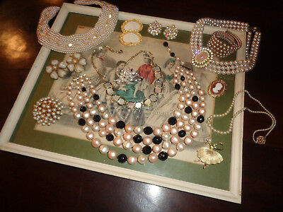 Vintage Antique Jewelry Lot Necklaces Brooches Earrings & More