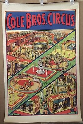 Cole Bros Circus Menagerie Poster - Deco Spectacle - Orig Erie Litho One Sheet