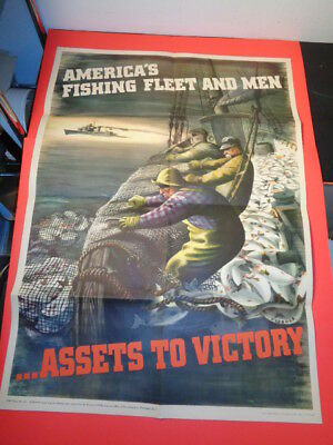 "Original 1943 WWII Poster ""American Fishing Fleet and Men"" (20 by 28"")"