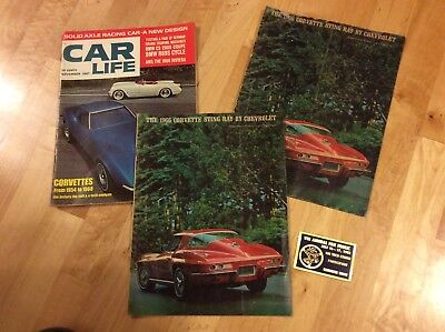 1960s Chevy Corvette magazine sales brochure lot dash plaque (RE:IS-210)