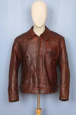 Stunning Mens AERO Scotland Highwayman Horsehide Leather Jacket Brown Size L/XL
