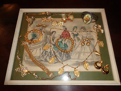 Vintage Antique Jewelry Lot Gold Tone Rhinestone Necklaces Bracelets and More