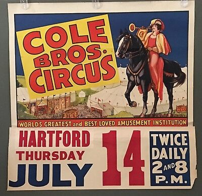 COLE BROS CIRCUS POSTER - HERALD on HORSE - ERIE LITHO - HARTFORD - HALF SHEET