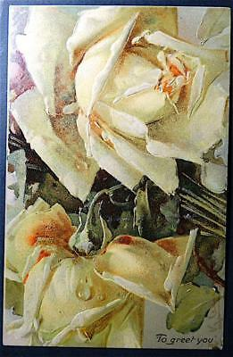 Postcard Artist Signed Catherine Klein Yellow Roses Greet You Embossed Gorgeous