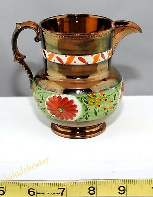 Antique Vintage Tarnished Copper Lusterware Creamer Pitcher with a Floral Design