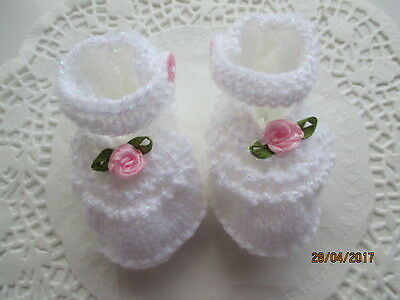 Baby booties in white D/K baby wool with pink rose buds (so pretty )