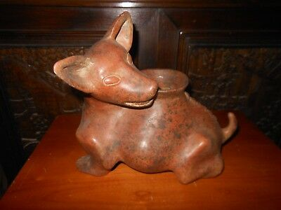 Mesoamerican Pre Columbian Terracotta Dog Open Vessel