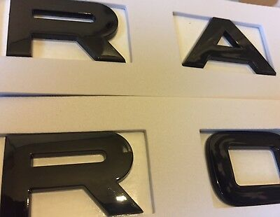2 X Range Rover Black Gloss Letter FRONT And BACK Sticker Badge